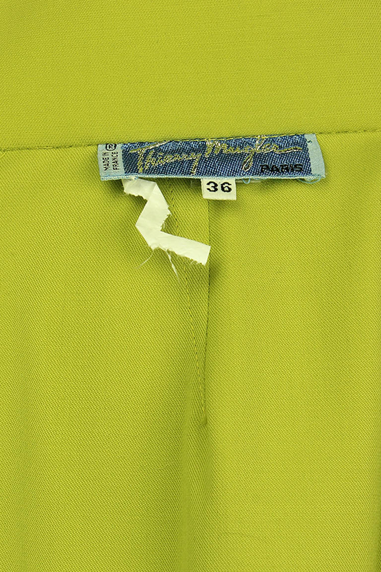 Thierry Mugler Lime Green Pencil Skirt For Sale 2