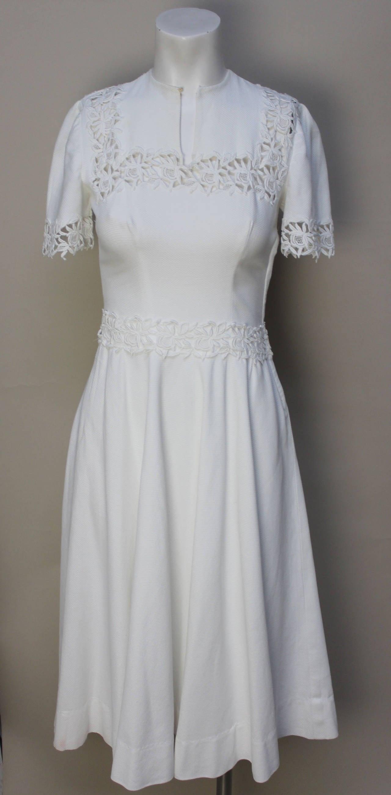 1940s/1950s Lawn Party White Pique Dress 2