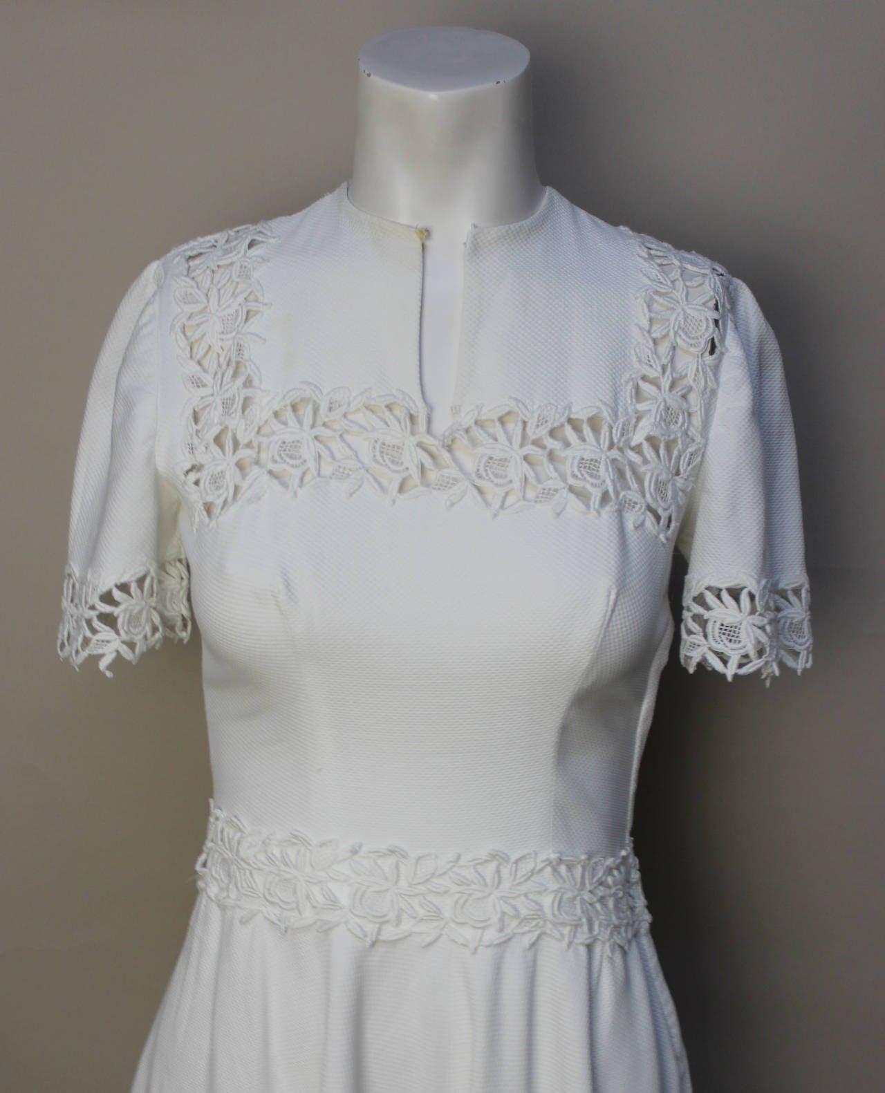 1940s/1950s Lawn Party White Pique Dress 5