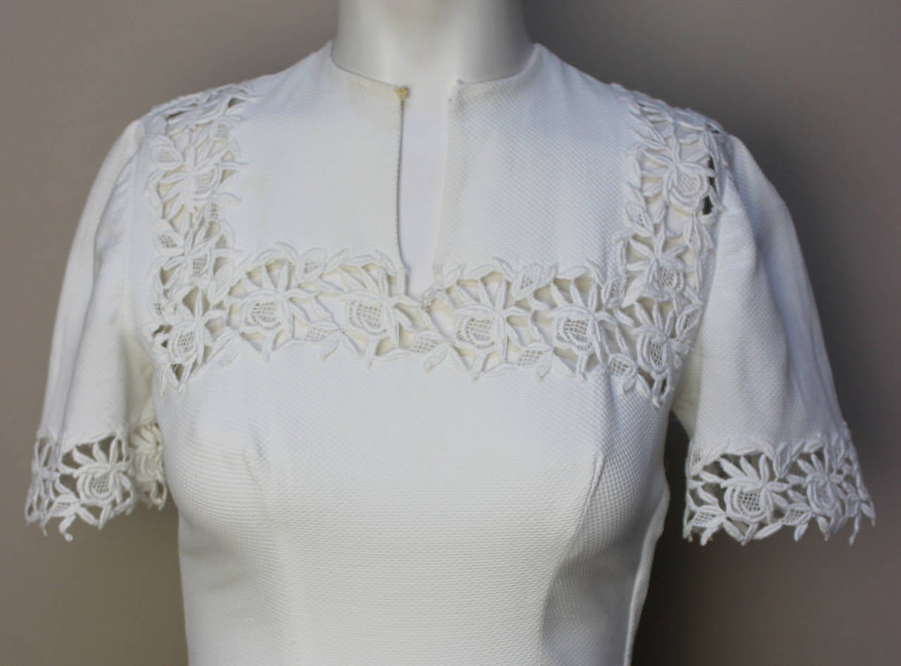 1940s/1950s Lawn Party White Pique Dress 6