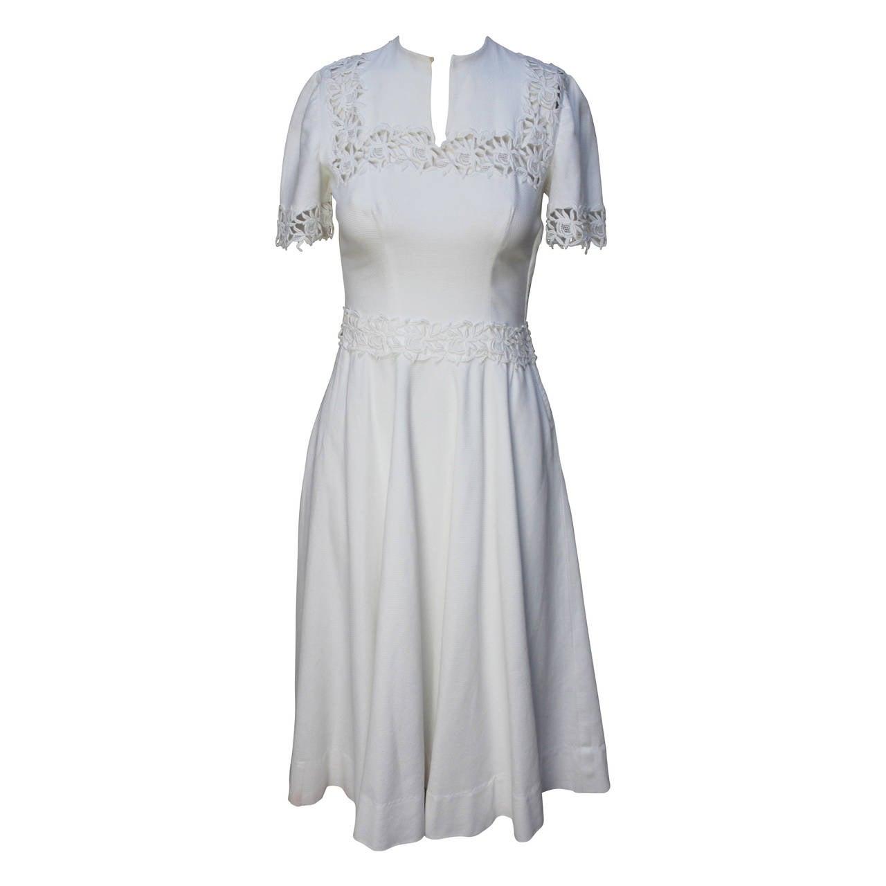 1940s/1950s Lawn Party White Pique Dress 1
