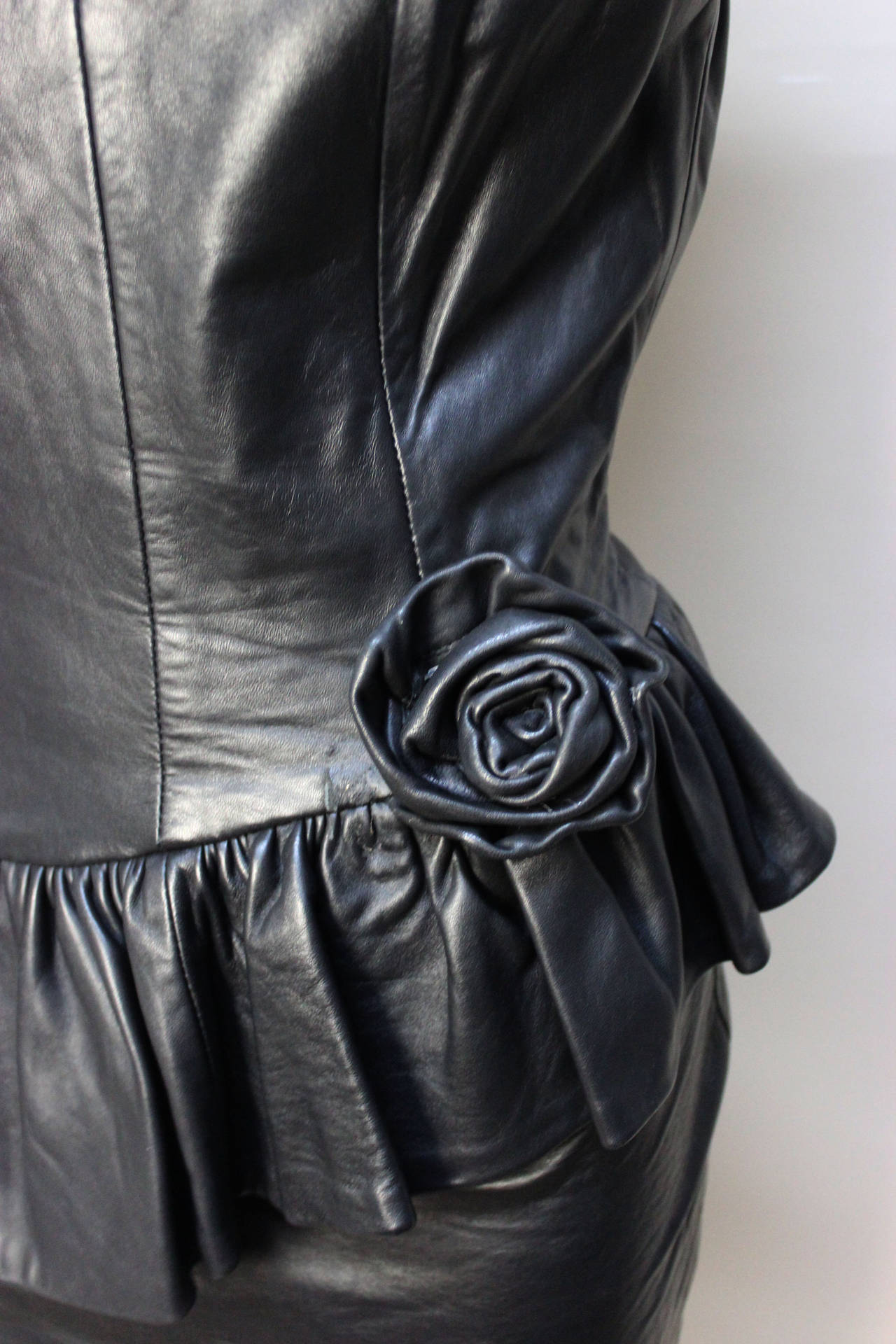 1980s Black Leather Bustier Dress at 1stdibs