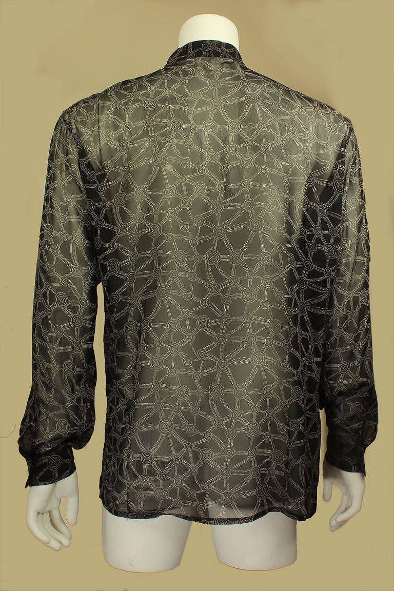 Versace for istante men 39 s sheer abstract print shirt at for Versace style shirt mens