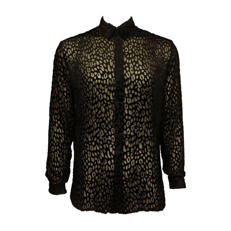 Gianni Versace Mens Sheer Velvet Leopard Print Shirt 1