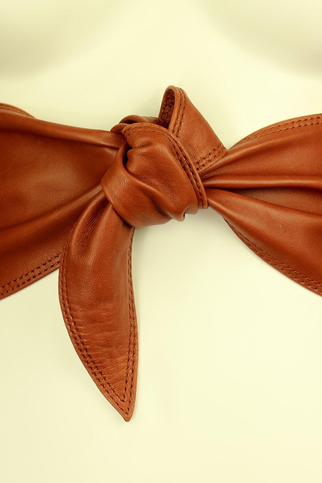 Calvin Klein 1980s Wide Leather Caramel Sash Belt 2