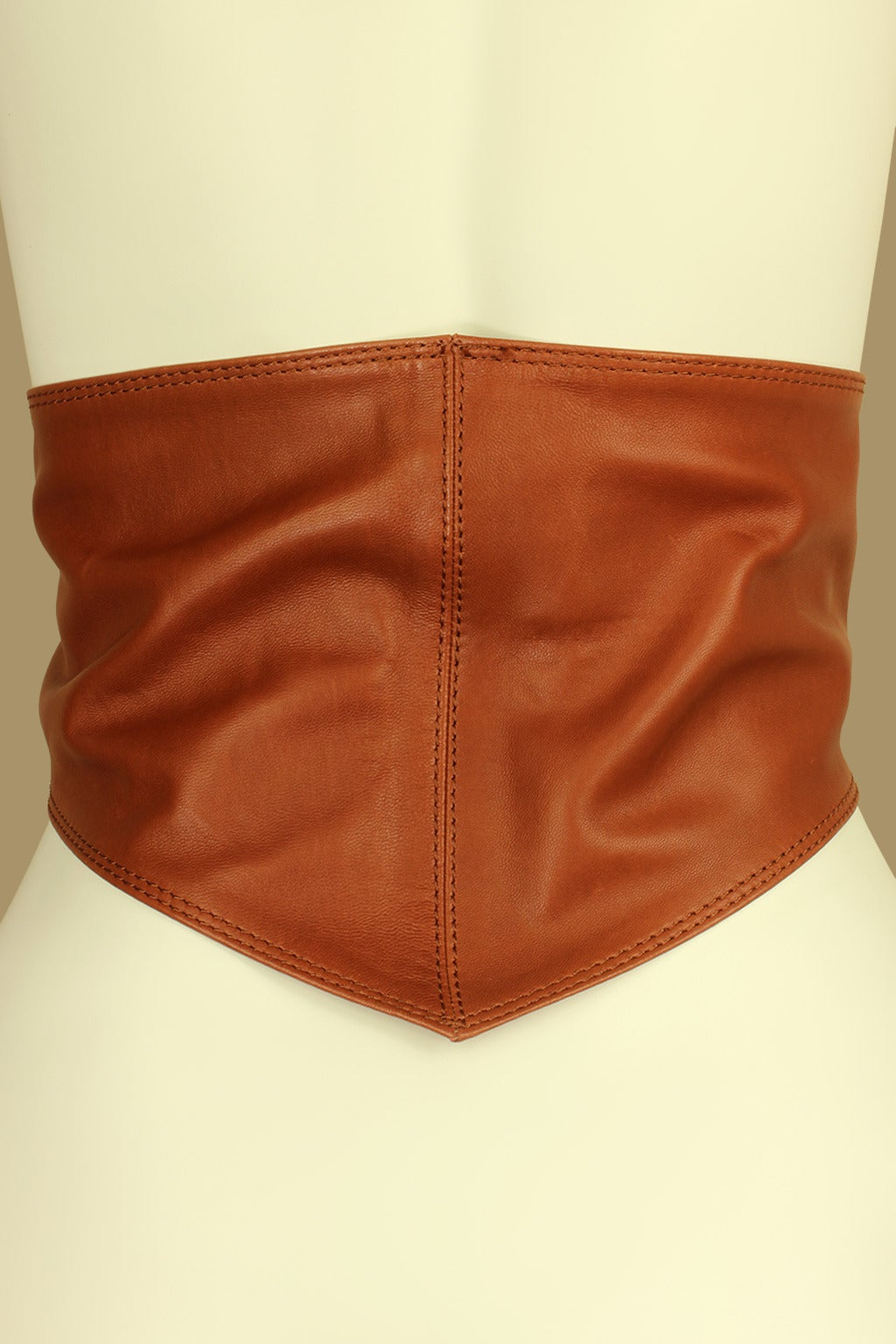 Calvin Klein 1980s Wide Leather Caramel Sash Belt 3