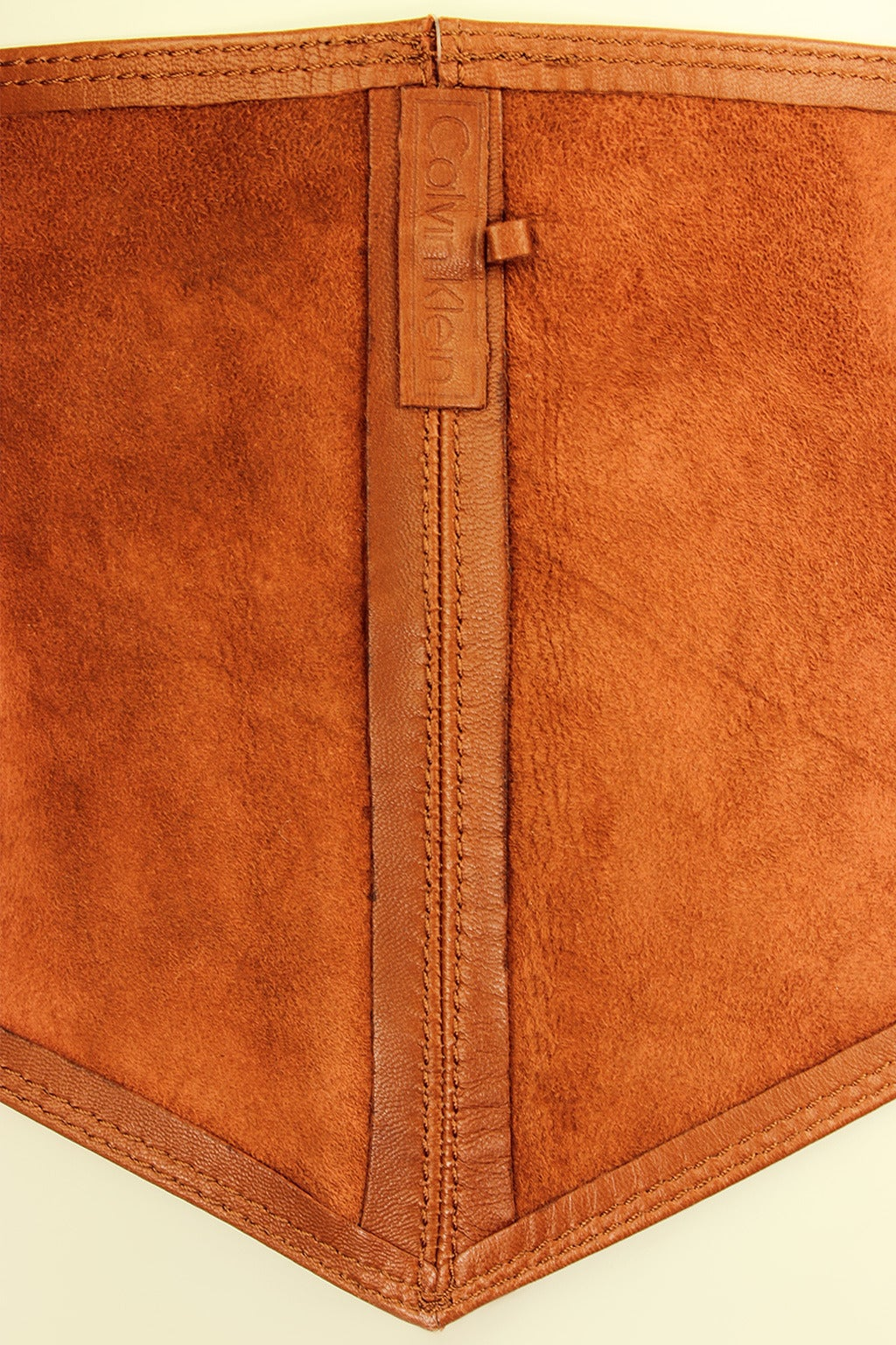 Calvin Klein 1980s Wide Leather Caramel Sash Belt 5