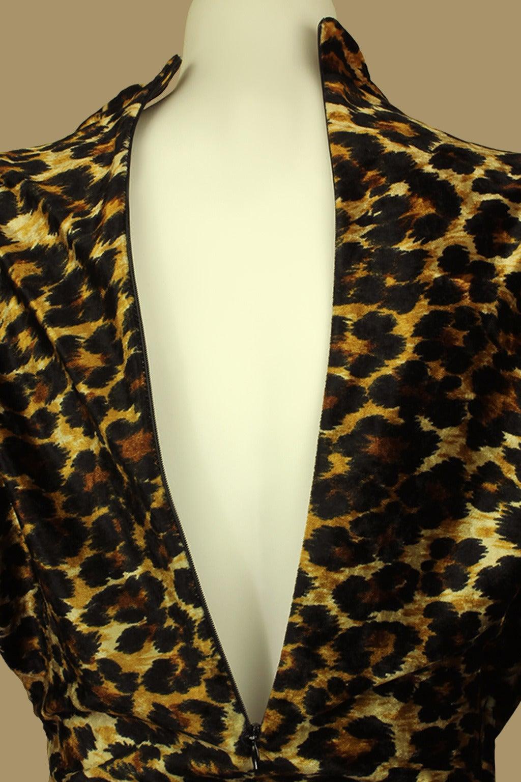 Patrick Kelly Leopard Print Wrap Dress 6