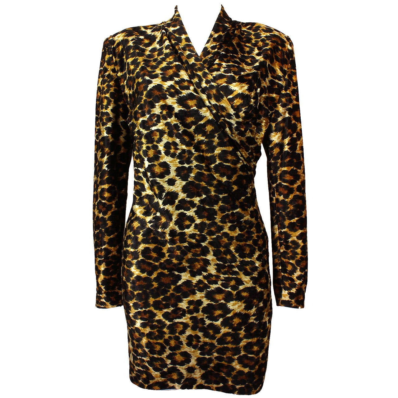 Patrick Kelly Leopard Print Wrap Dress