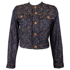 Jean Paul Gaultier Cropped Lace Printed Jacket