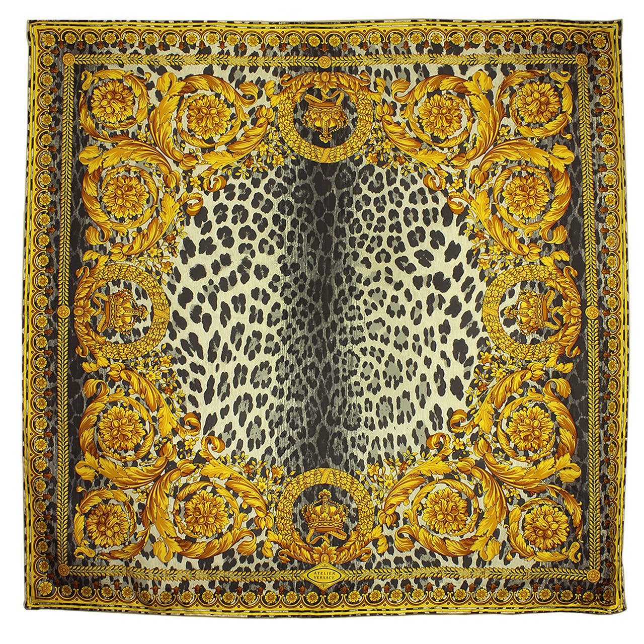Atelier Versace 1990s Baroque and Leopard Print Silk Scarf ...