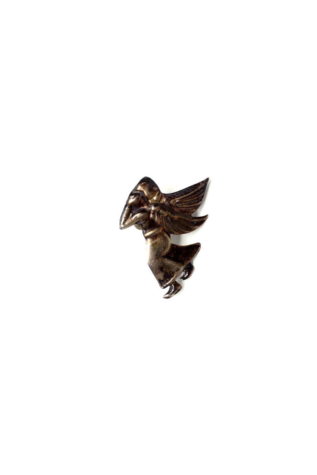 Mid Century Mexican Silver Devil/Angel Earrings 2