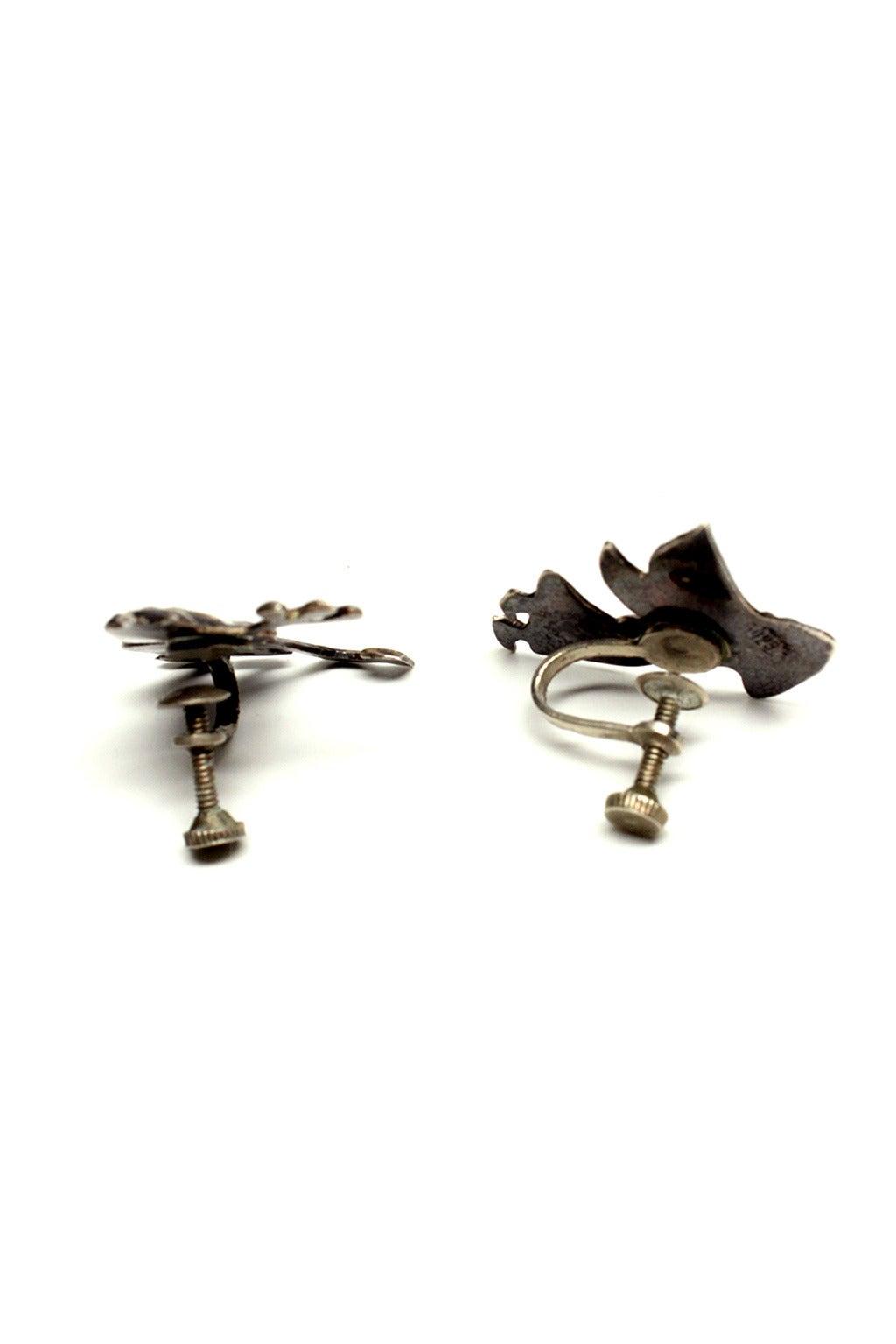 Mid Century Mexican Silver Devil/Angel Earrings 5