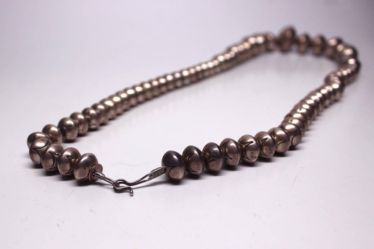 navajo silver bead pawn necklace at 1stdibs