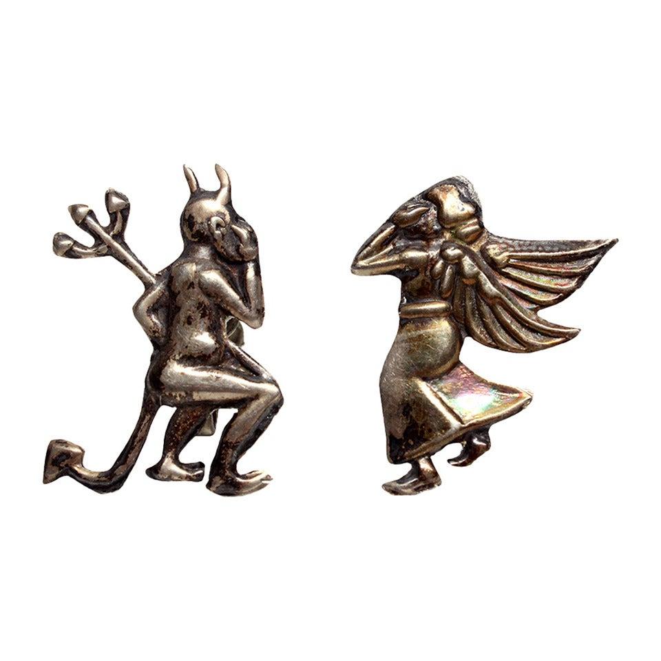 Mid Century Mexican Silver Devil/Angel Earrings 1