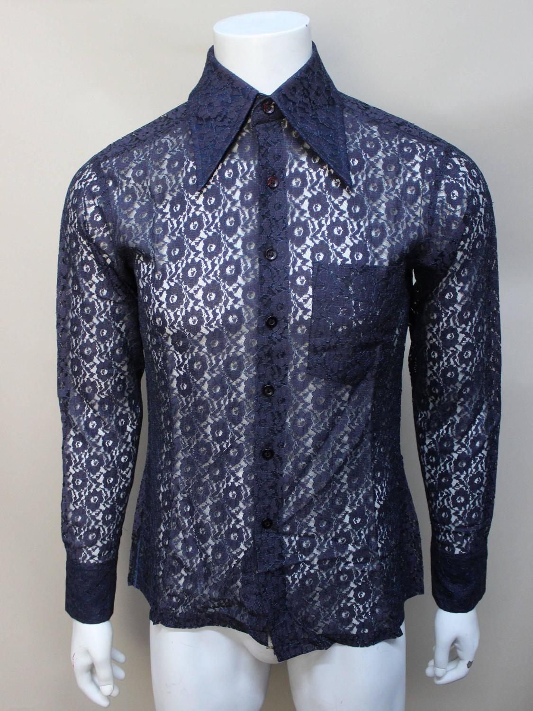 mens 1970s custom made lace shirt at 1stdibs
