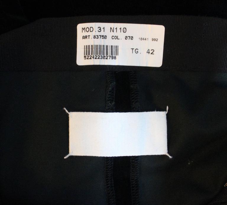 Martin Margiela Early 90s Forest Green Velvet White Label Skirt For Sale 3
