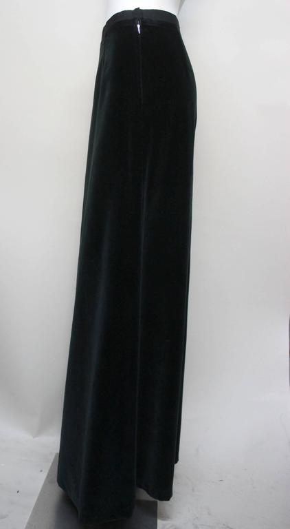 Black Martin Margiela Early 90s Forest Green Velvet White Label Skirt For Sale