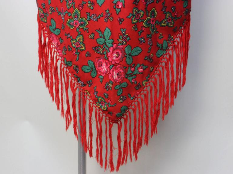 Vintage Red Russian Wool Challis Shawl with Fringe 7