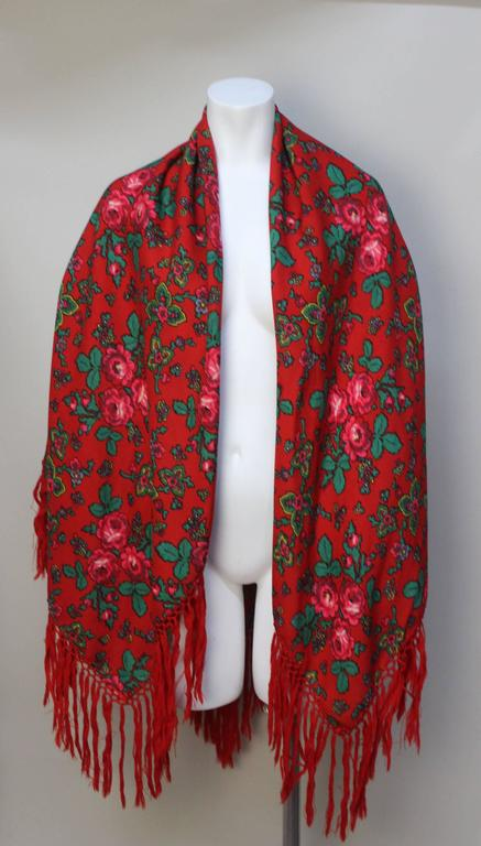 Vintage Red Russian Wool Challis Shawl with Fringe 2