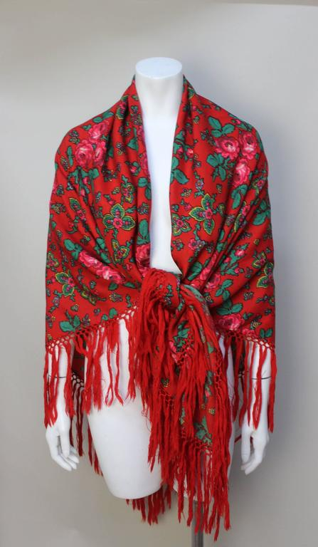 Vintage Red Russian Wool Challis Shawl with Fringe 5