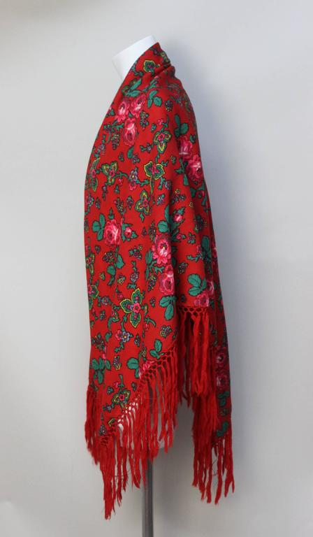 Vintage Red Russian Wool Challis Shawl with Fringe 4