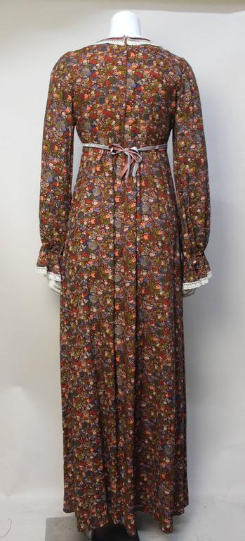 1970s John Charles Cotton Floral Folkloric Maxi Dress 4