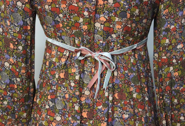 1970s John Charles Cotton Floral Folkloric Maxi Dress 8