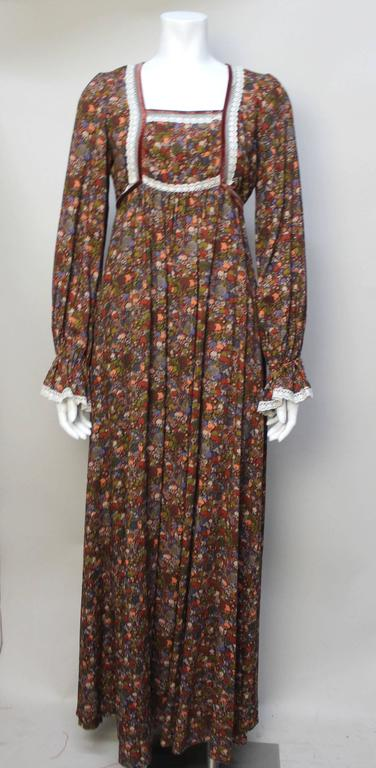 1970s John Charles Cotton Floral Folkloric Maxi Dress 2