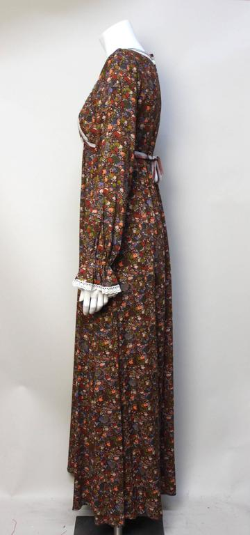 1970s John Charles Cotton Floral Folkloric Maxi Dress 3