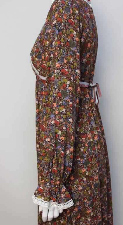 1970s John Charles Cotton Floral Folkloric Maxi Dress 7