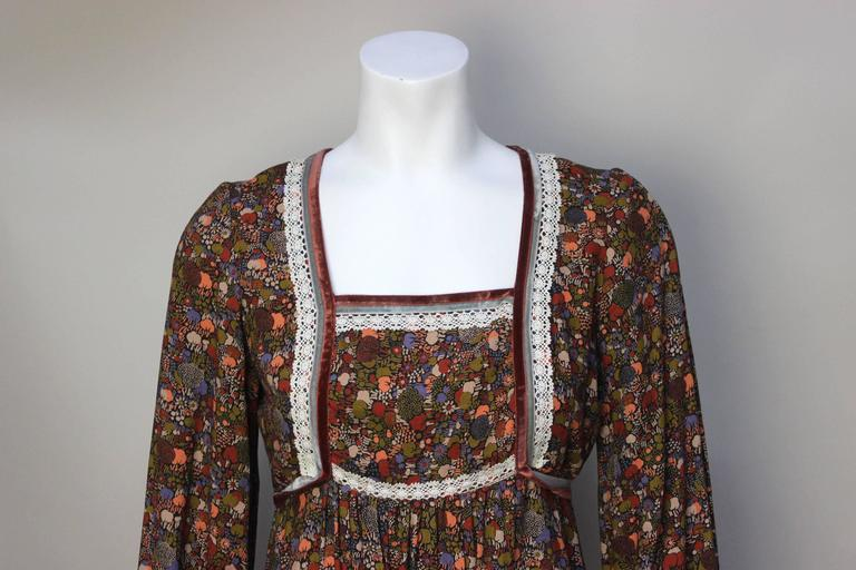 1970s John Charles Cotton Floral Folkloric Maxi Dress 5