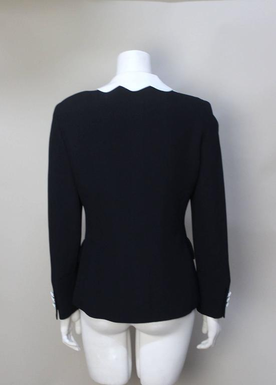 Black Moschino Scalloped Collar Jacket with Daisy Buttons For Sale