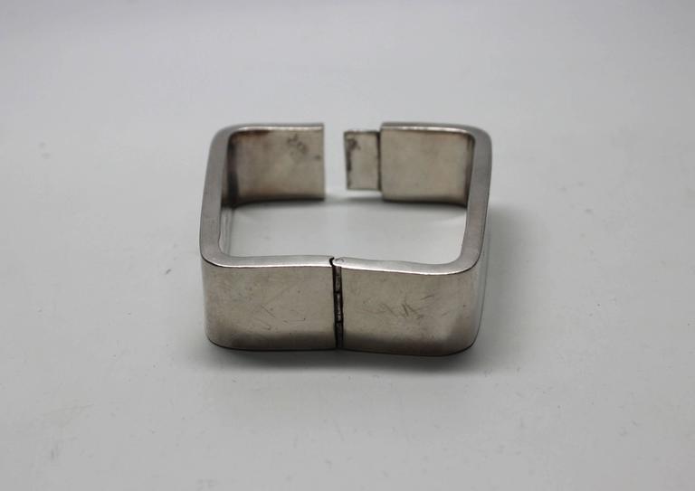 Women's or Men's 1960s Modernist Sterling Rectangle Bracelet For Sale
