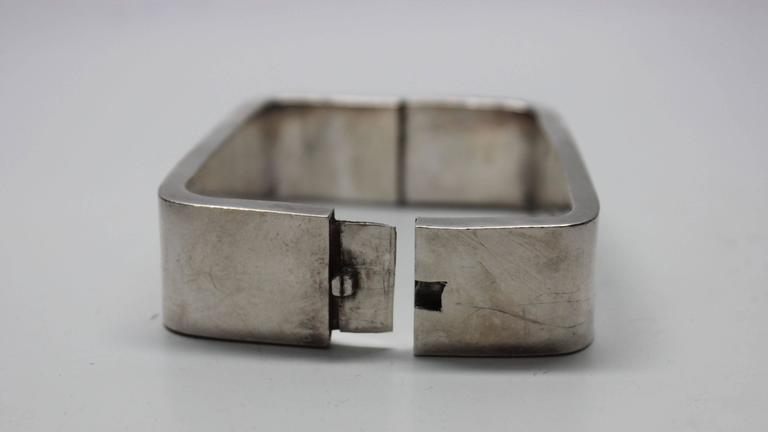 1960s Modernist Sterling Rectangle Bracelet In Excellent Condition For Sale In New York, NY