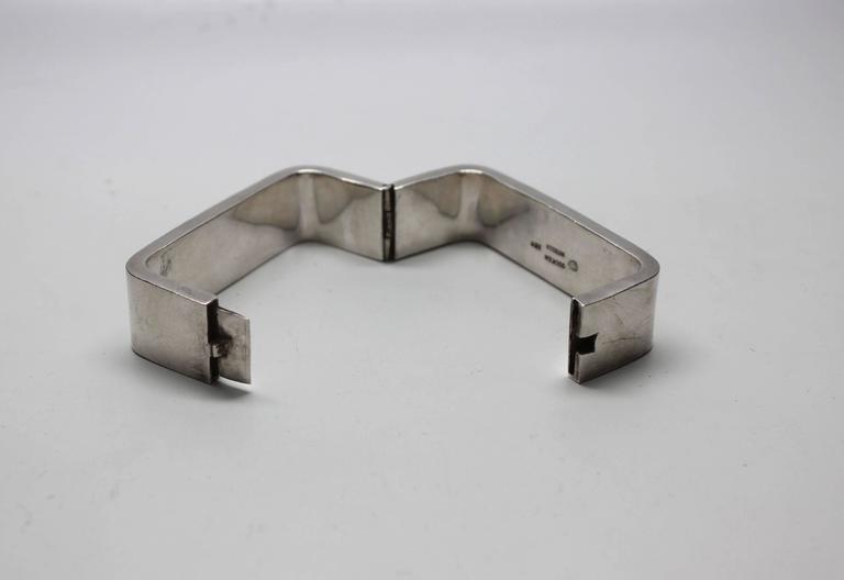 1960s Modernist Sterling Rectangle Bracelet For Sale 2