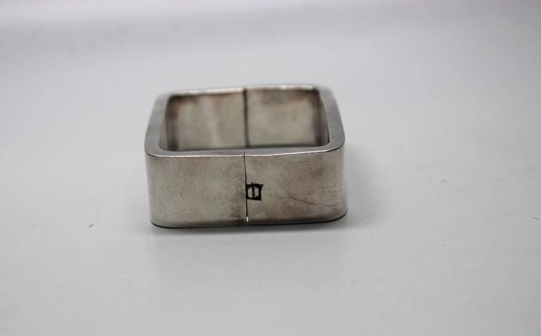 1960s Modernist Sterling Rectangle Bracelet For Sale 1