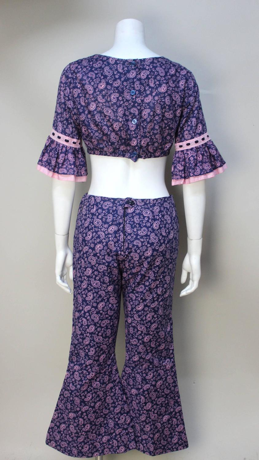 Rare 1960s Bobbie Brooks Mod 2 Piece Paisley Pant And Top