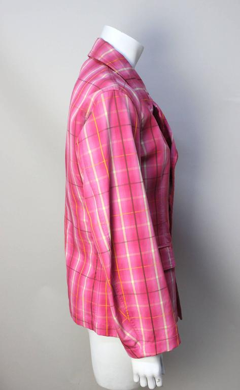 Comme Des Garcons Homme Plus Pink Plaid Jacket In Excellent Condition For Sale In New York, NY