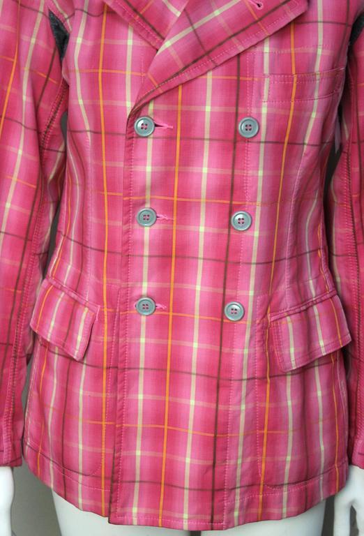 Comme Des Garcons Homme Plus Pink Plaid Jacket For Sale 1