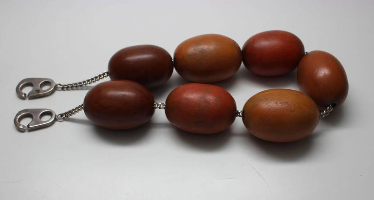Patricia Von Musulin Wood Sterling Silver Choker Necklace  In Excellent Condition For Sale In New York, NY