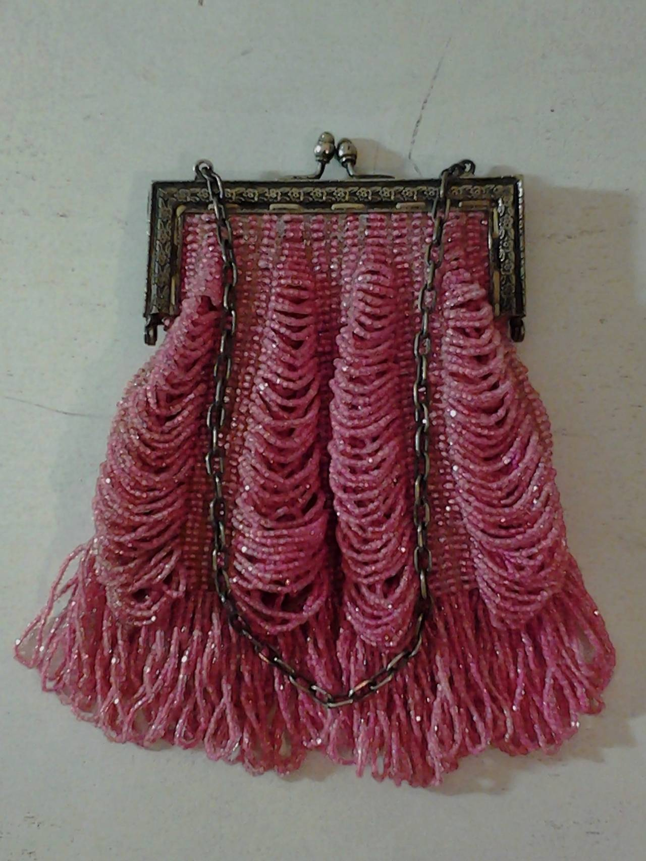 1920s Rose Glass Beaded Metal Frame Handbag 2