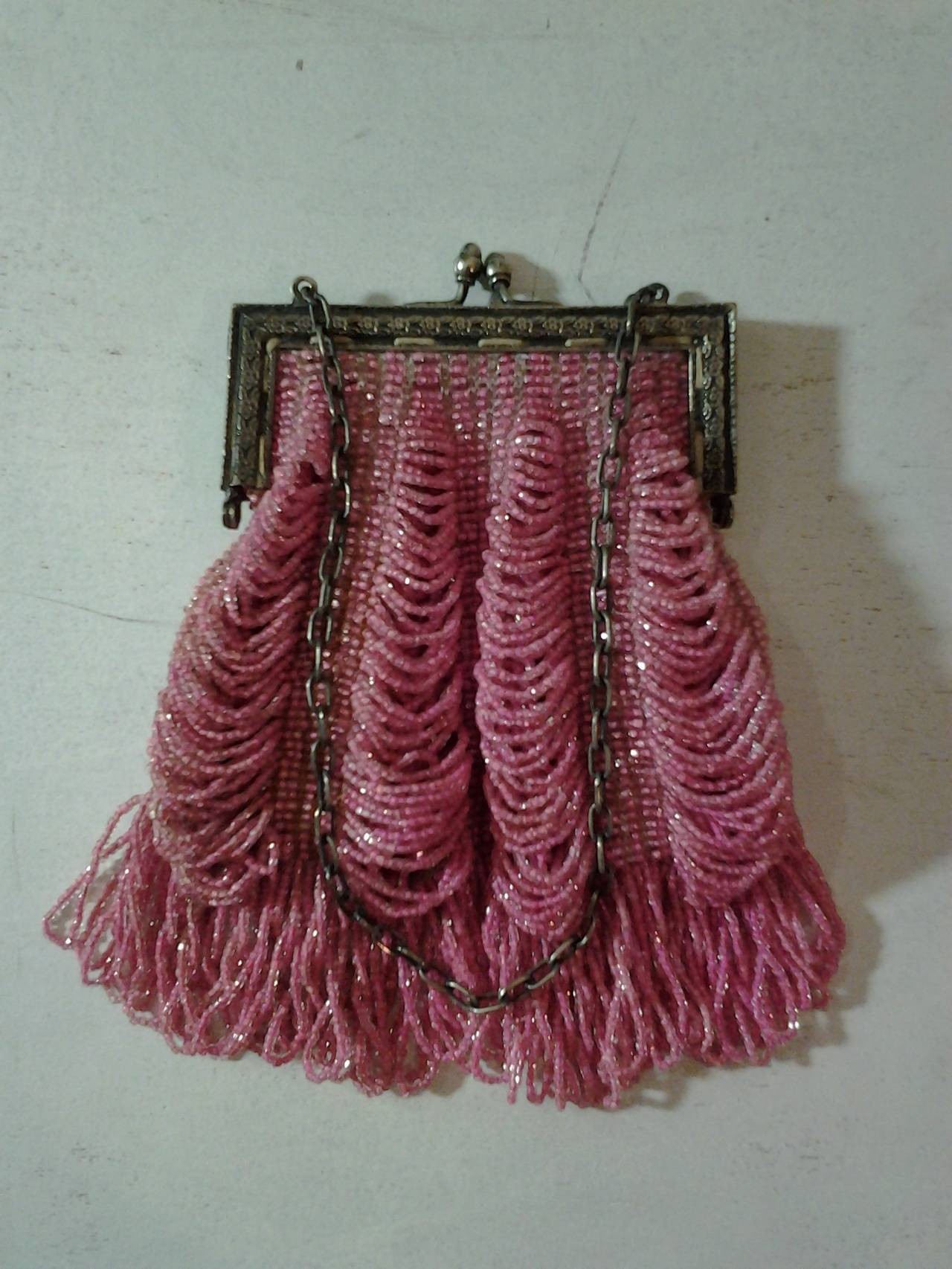 1920s Rose Glass Beaded Metal Frame Handbag 4