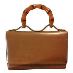1960s Harry Rosenfeld Accordion Leather Faux Bamboo Lucite Handle Handbag