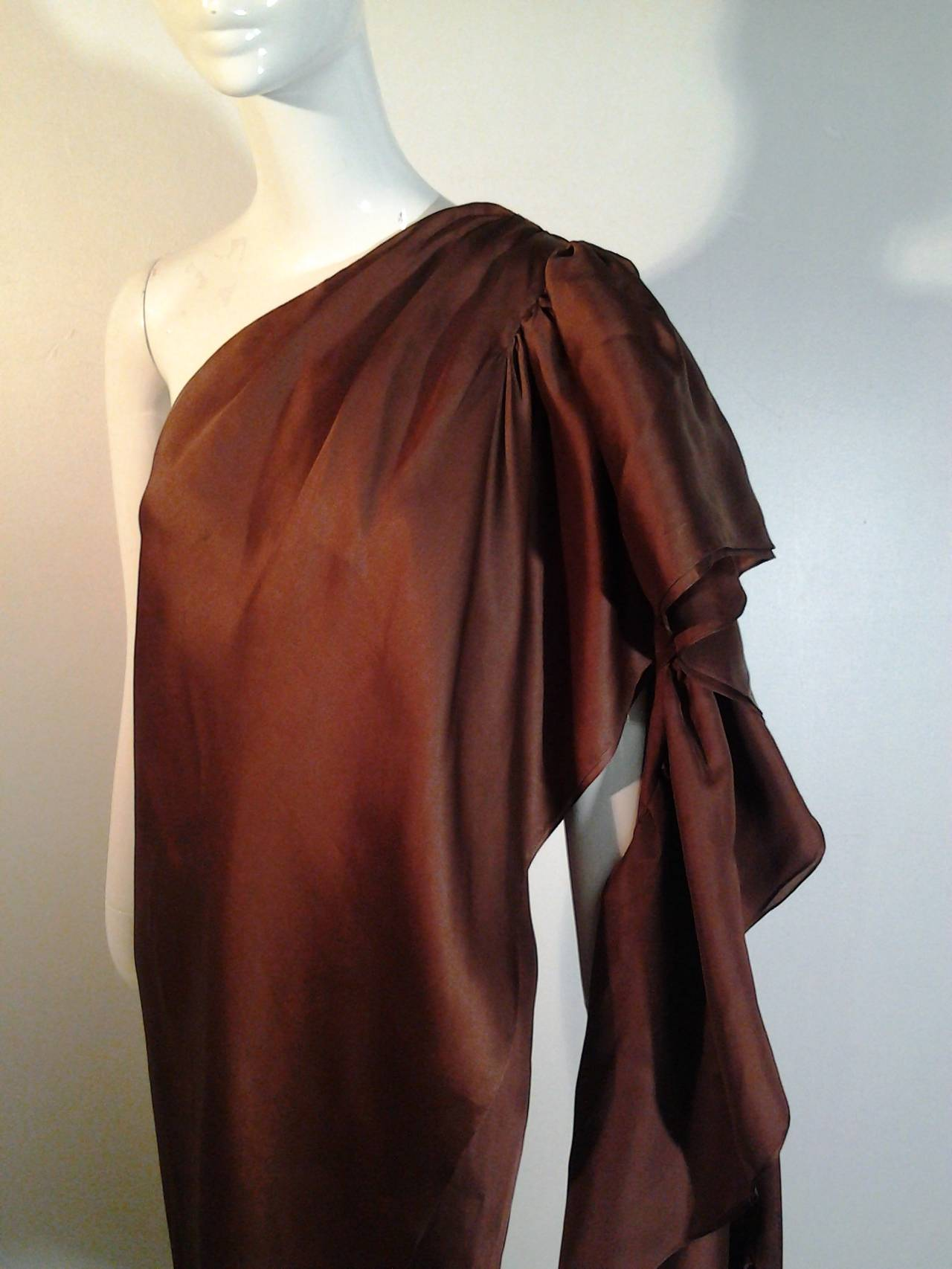 1970s Halston One-Shoulder Double-Layered Organza Column w/ Ruffle Train 2