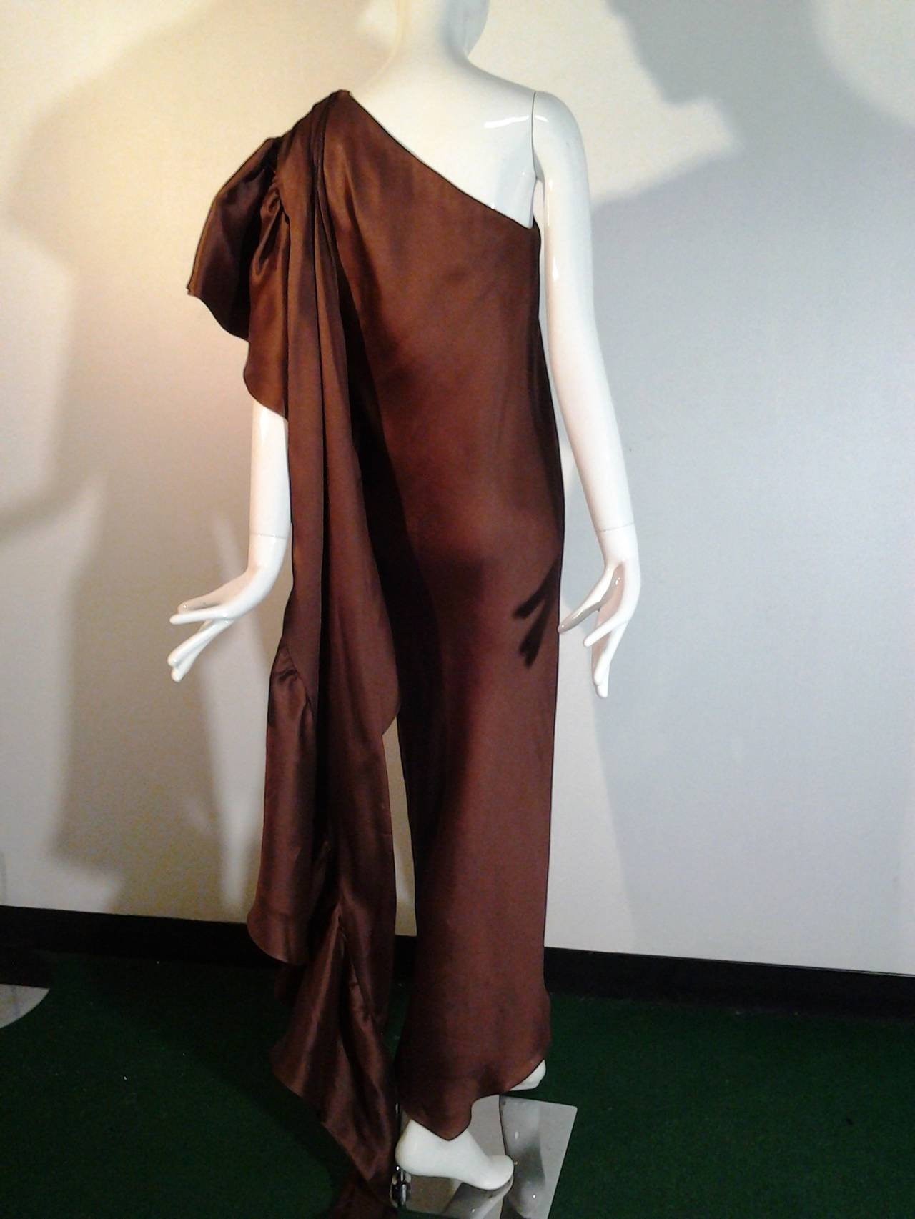1970s Halston One-Shoulder Double-Layered Organza Column w/ Ruffle Train 6