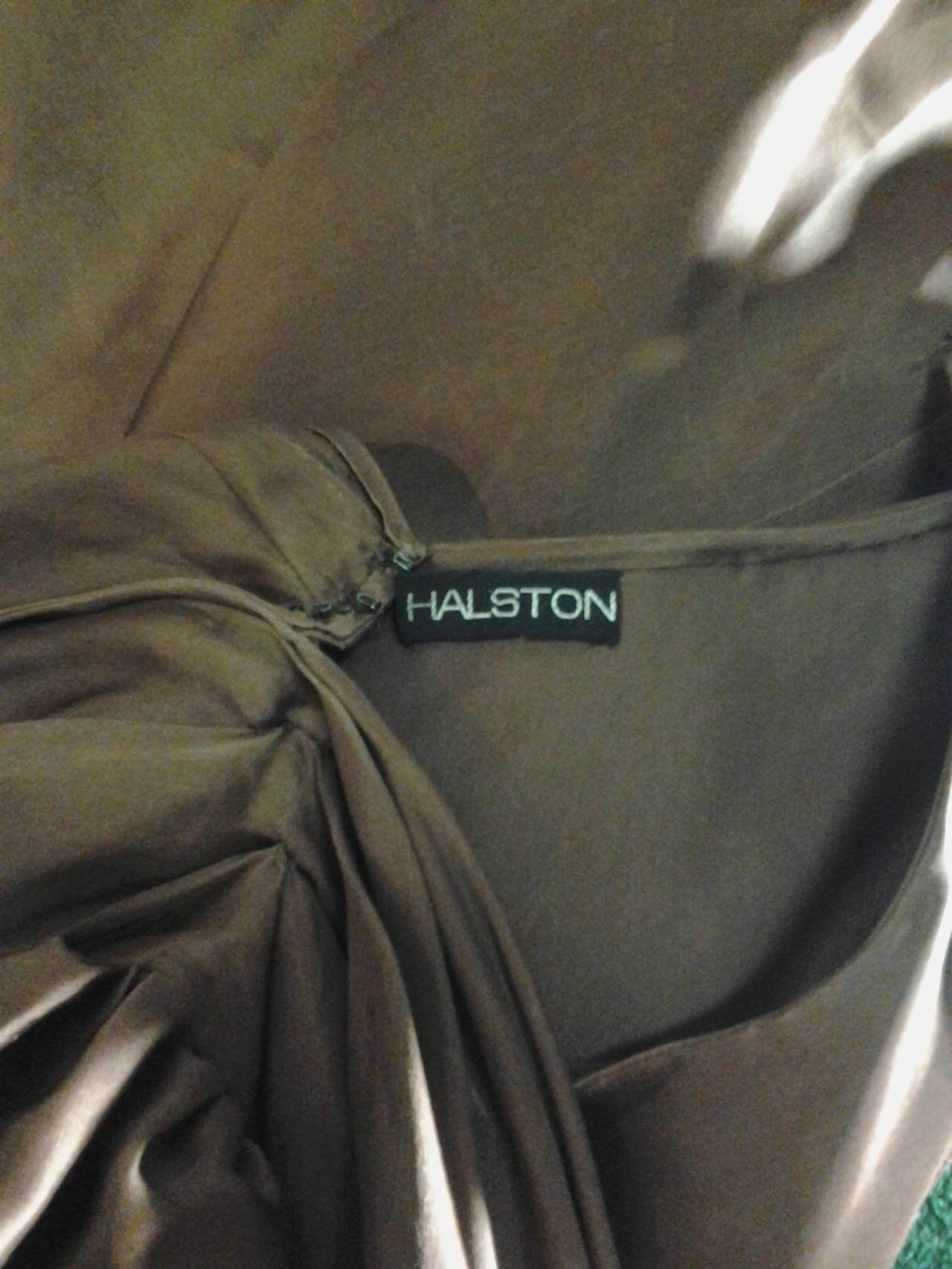 1970s Halston One-Shoulder Double-Layered Organza Column w/ Ruffle Train 9