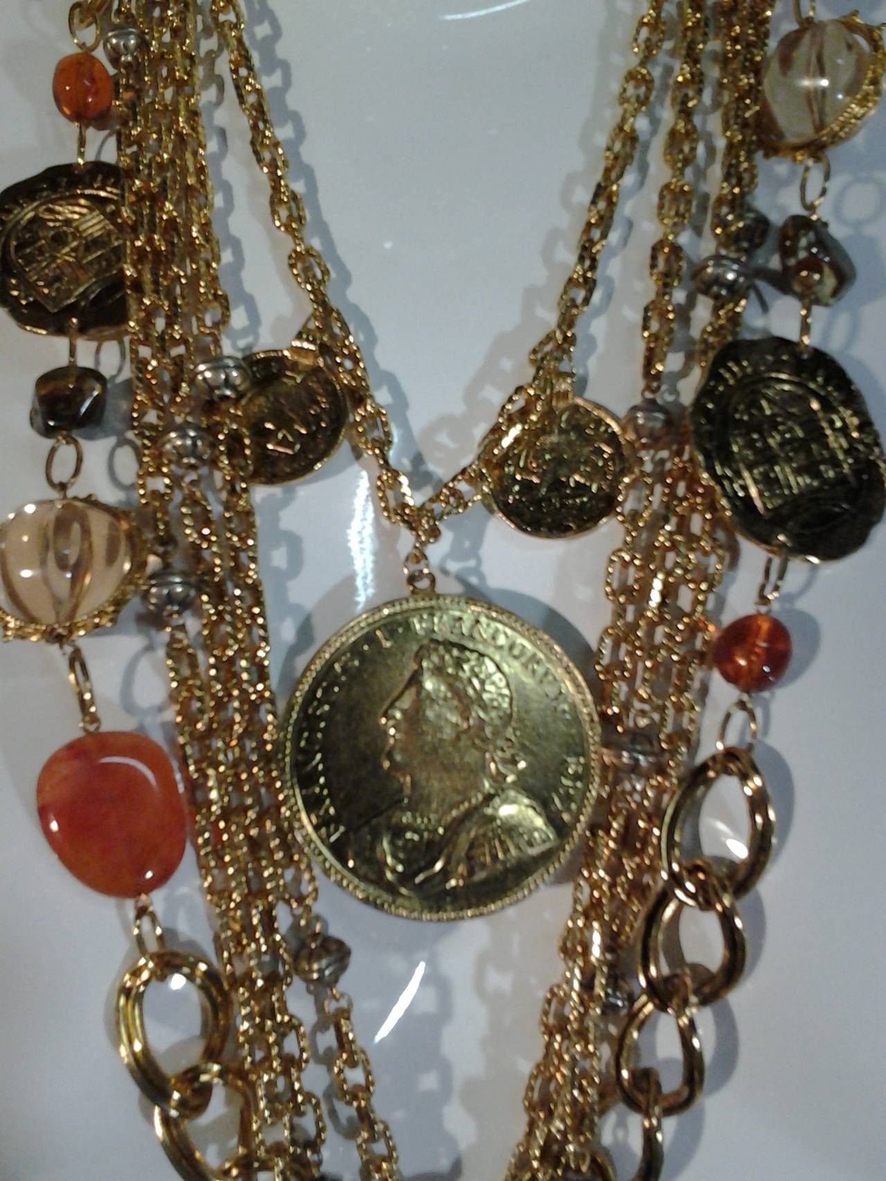 1960s Les Bernard Massive Coin, Cross and Chain Necklace 2