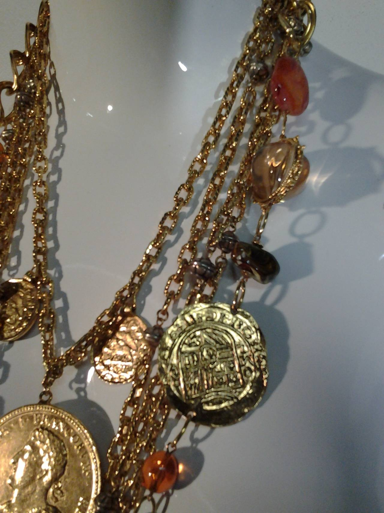 1960s Les Bernard Massive Coin, Cross and Chain Necklace 3