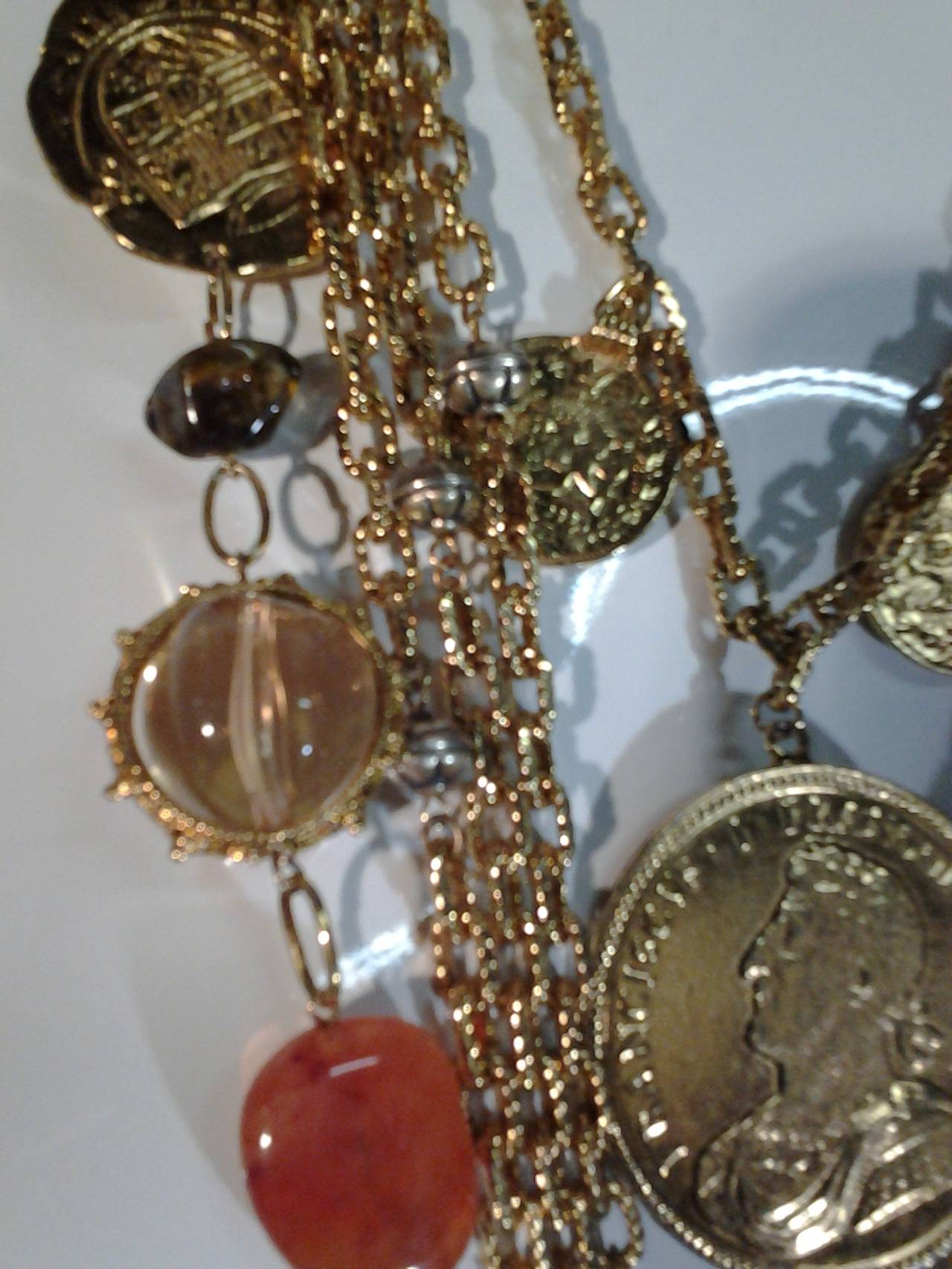 1960s Les Bernard Massive Coin, Cross and Chain Necklace 6